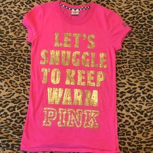 "Pink ""let's snuggle to keep warm"" top"